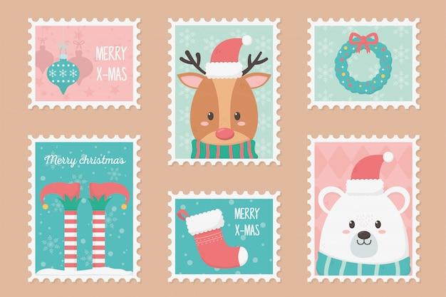 Coleção celebração feliz natal selos