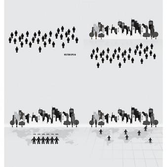 Coleção cityscape com pictogramas humanos
