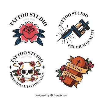 Coleção clássica de logotipo de tatuagem colorida