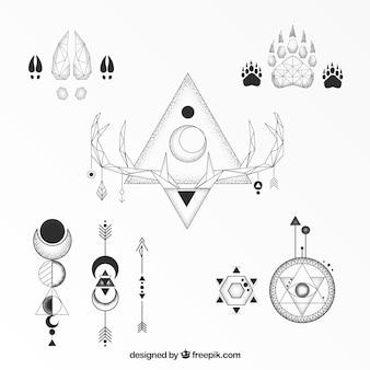 Coleção clássica de tatuagens geométricas étnicas