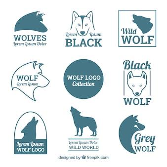 Coleção clássica do logotipo do lobo vintage