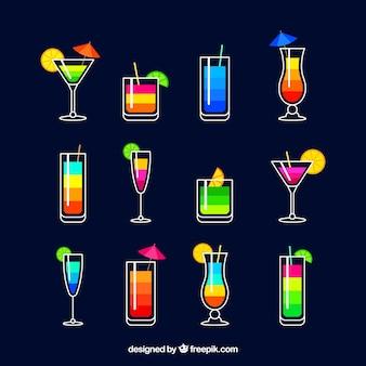 Coleção cocktail colorida com design plano