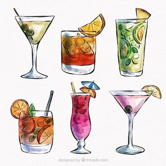 Coleção cocktail tropical com estilo aquarela