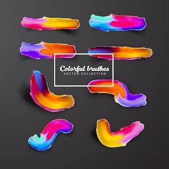 Coleção colorida 3d brushes