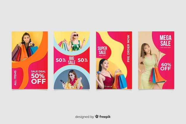 Coleção colorida abstrata de histórias do instagram de venda