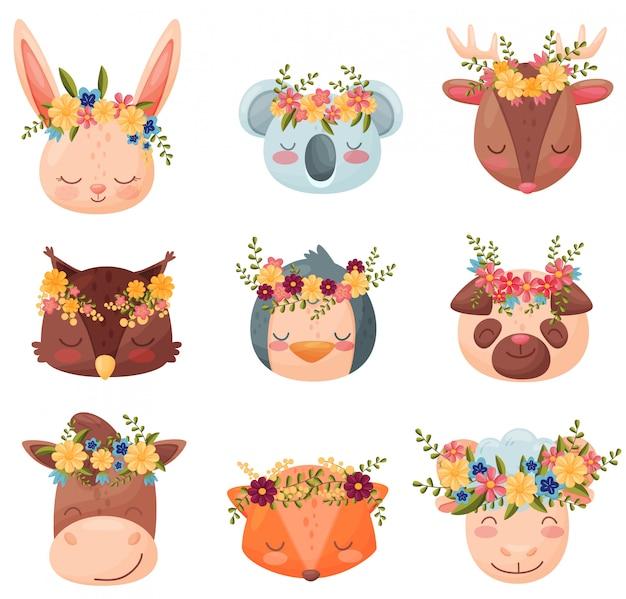 Coleção colorida animais dos desenhos animados. ilustração plana.