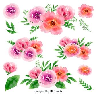 Coleção colorida aquarela buquê floral