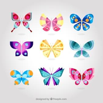 Coleção colorida bonito da borboleta