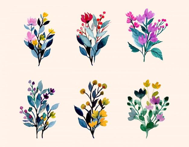 Coleção colorida buquê aquarela floral selvagem