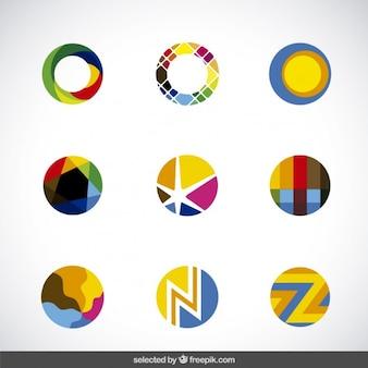 Coleção colorida círculos abstratos