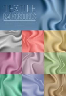 Coleção colorida da cortina de matéria têxtil na luz azul, dourada, de prata, verde, cor-de-rosa, roxa e em cores brilhantes.