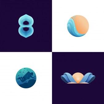 Coleção colorida da ilustração do logotipo da atividade de praia moderna pronta para usar