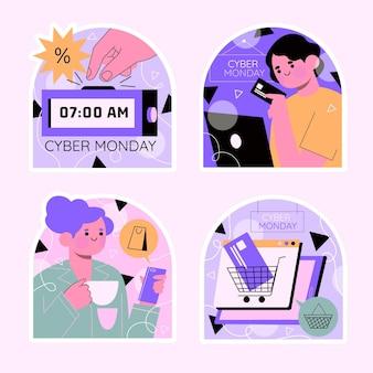 Coleção colorida de adesivos cibernéticos de segunda-feira