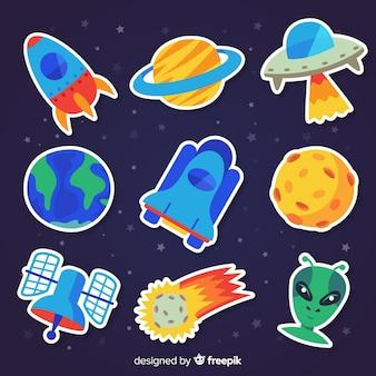 Coleção colorida de adesivos de espaço