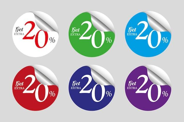 Coleção colorida de adesivos de liquidação com 20% de desconto