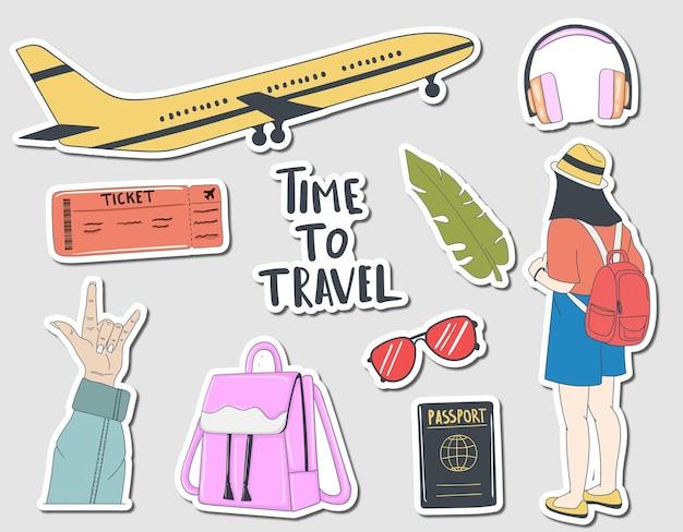 Coleção colorida de adesivos de viagem desenhados à mão