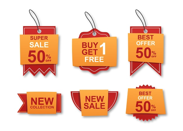 Coleção colorida de adesivos e etiquetas de venda modernos