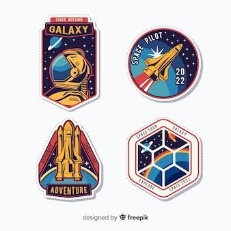 Coleção colorida de adesivos modernos de espaço