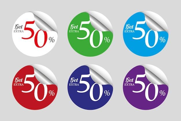 Coleção colorida de adesivos promocionais com 50% de desconto