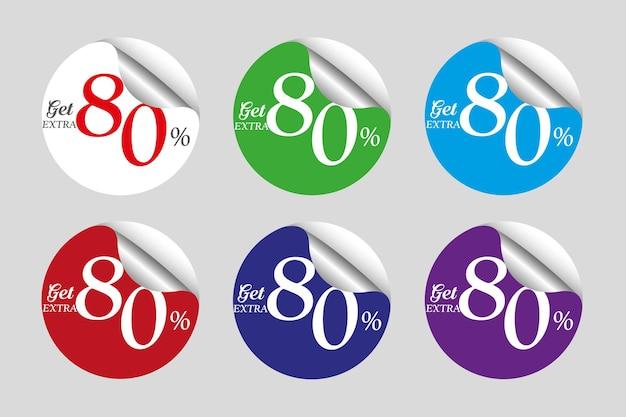 Coleção colorida de adesivos promocionais com 80% de desconto