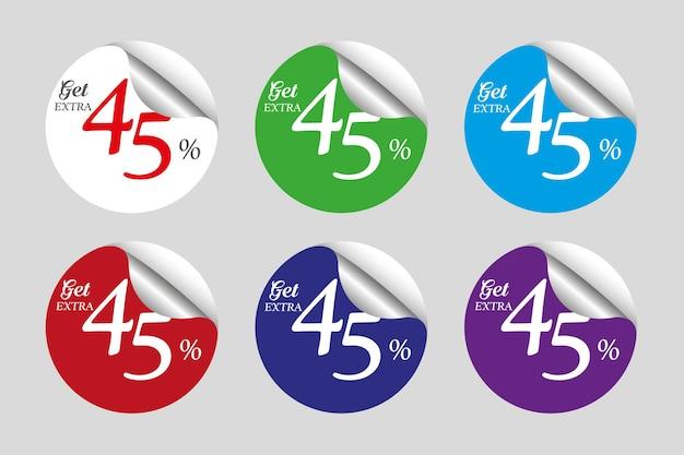 Coleção colorida de adesivos promocionais com desconto de 45%