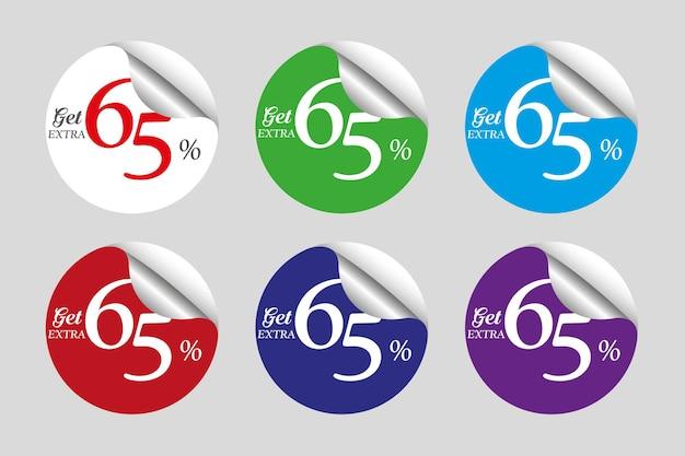 Coleção colorida de adesivos promocionais com sessenta e cinco 65 por cento de desconto