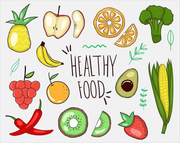 Coleção colorida de alimentos saudáveis desenhados à mão