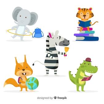 Coleção colorida de animais educativos