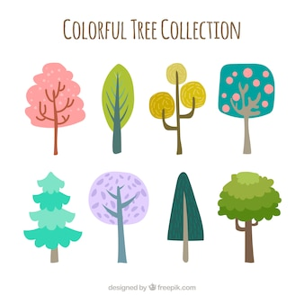 Coleção colorida de árvores