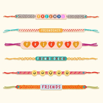 Coleção colorida de bandas de amizade