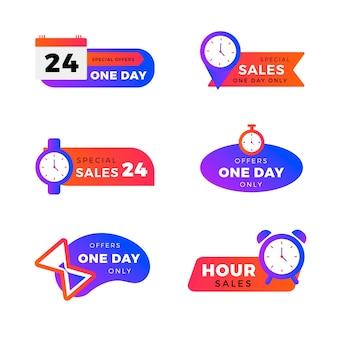 Coleção colorida de banner de contagem regressiva de vendas