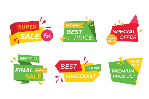 Coleção colorida de banner de vendas