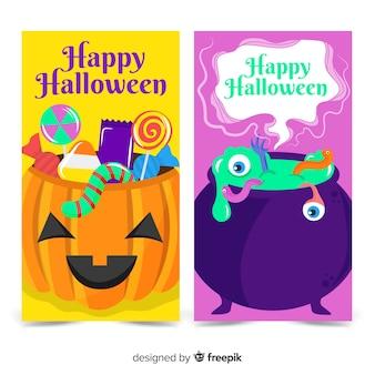 Coleção colorida de banners de halloween