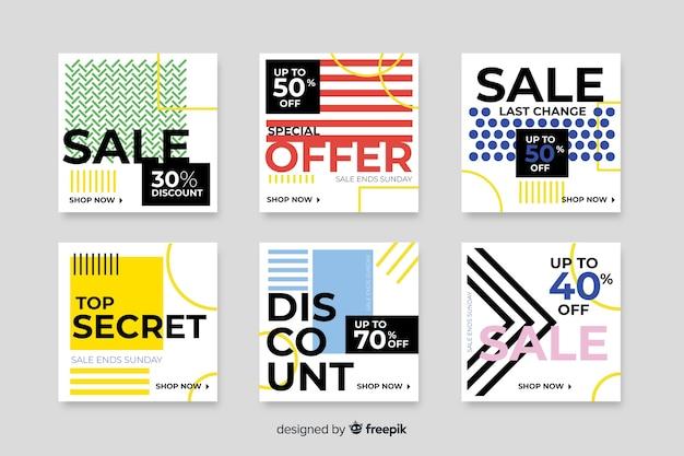 Coleção colorida de banners de venda moderna para mídias sociais