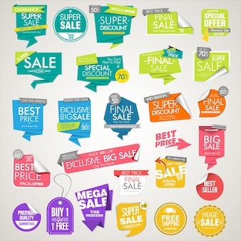 Coleção colorida de banners e etiquetas de venda modernos