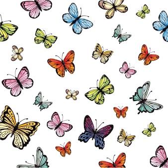 Coleção colorida de borboletas aquarela