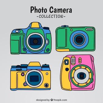 Coleção colorida de câmeras