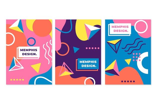 Coleção colorida de capa com design de memphis