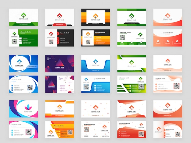 Coleção colorida de cartão horizontal
