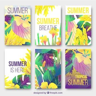Coleção colorida de cartões de verão tropicais