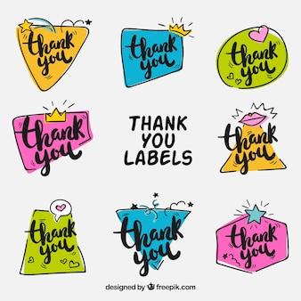 Coleção colorida de coleções de agradecimentos