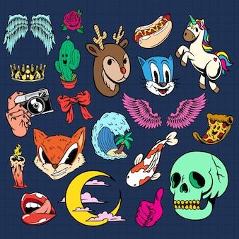 Coleção colorida de desenhos animados fofos
