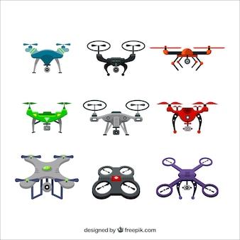 Coleção colorida de drones