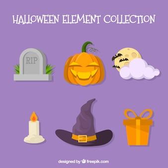 Coleção colorida de elementos do dia das bruxas
