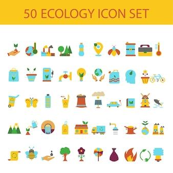 Coleção colorida de estilo plano de 50 ícones de ecologia.