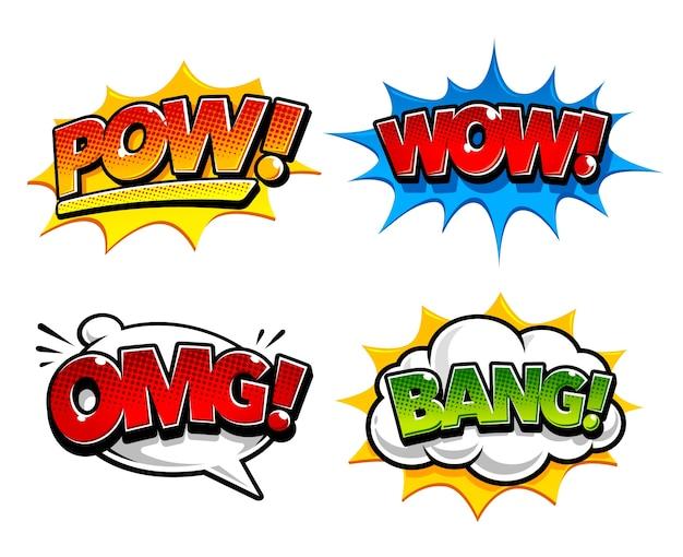 Coleção colorida de etiquetas comic