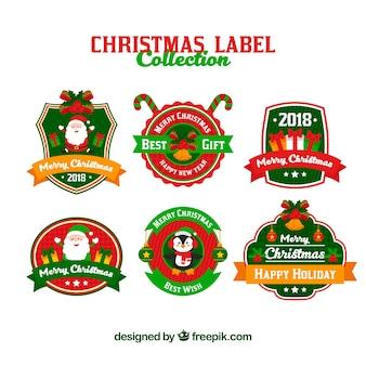 Coleção colorida de etiquetas de natal