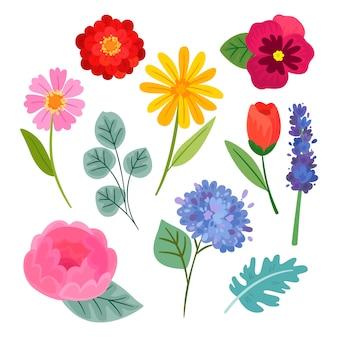 Coleção colorida de flores design plano