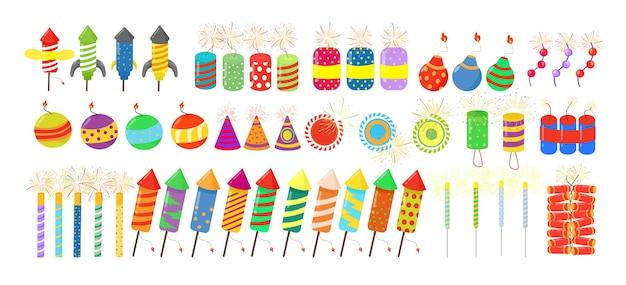 Coleção colorida de fogos de artifício. fogos de artifício, melindrosas, petardos em estilo plano.