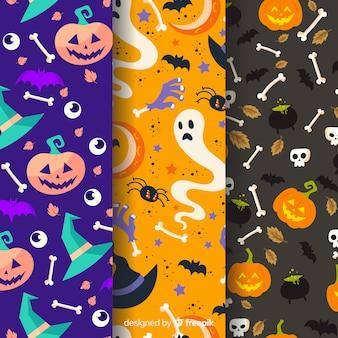 Coleção colorida de halloween padrão em design plano